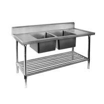 Double Centre Sink Bench with Pot Undershelf DSB7-2400C/A