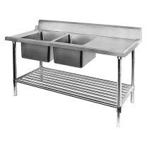 Double Left Sink Bench with Pot Undershelf DSB7-2400L/A