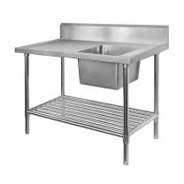 Single Right Sink Bench with Pot Undershelf SSB6-1200R/A