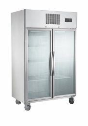 F.E.D SUFG1000 2 Door Stainless Steel Display Freezer