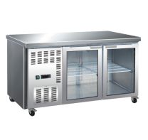 F.E.D TL1500TNG 700 Series Refrigerated 2 Glass Door Stainless Steel Workbench